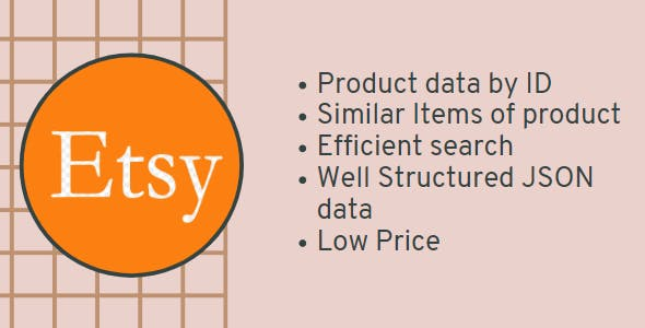 Etsy scrapper, get data as JSON of any product and Similar Items. WATCH VIDEO.