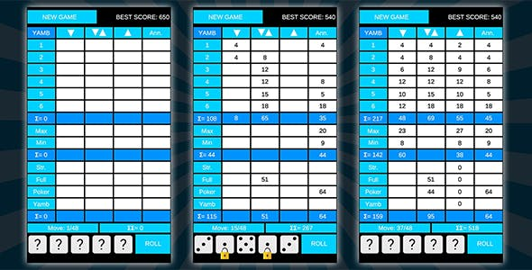 YAMB (Unity Game) - good old dice yahtzee puzzle game.