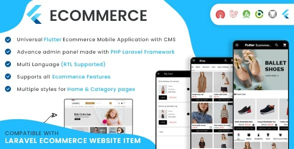 Flutter Ecommerce - Universal iOS & Android Ecommerce / Store Full Mobile App with PHP Laravel CMS