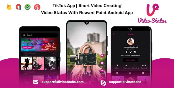 TikTok App| Short Video Creating - Video Status With Reward Point Android App - CodeCanyon Item for Sale