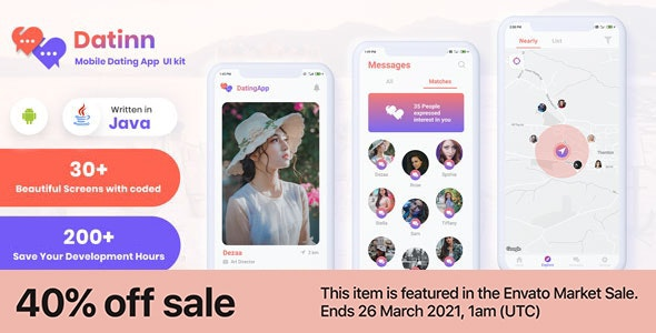 Datinn - Android Dating App UI Design Template Kit - CodeCanyon Item for Sale