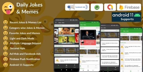 Daily Jokes & Memes Android App (Comedy, Funny, Joke, Memes) + Admob & Fb Ads - CodeCanyon Item for Sale