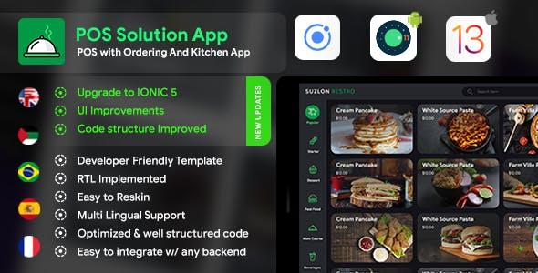 Restaurant Kitchen App + Restaurant Menu App+ Restaurant POS Web App Template| Android+iOS | IONIC 5