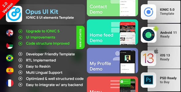 IONIC 5 UI elements with 85+ Screens | Ready to use| IONIC UI Kit
