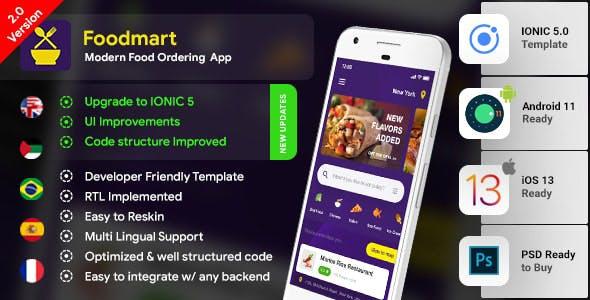 Food Ordering Android App Template + iOS App Template | Food App | IONIC 5 | Foodmart