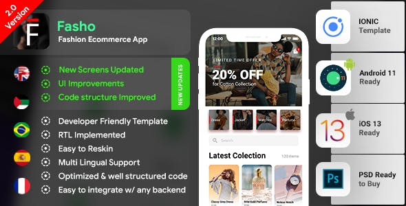 Fashion Ecommerce Android App + Online Shopping iOS App Template | Fasho| IONIC 3