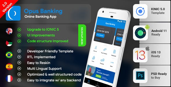 Online Banking Android App + Online Banking iOS App Template| Bank App| Opus Banking|IONIC 5