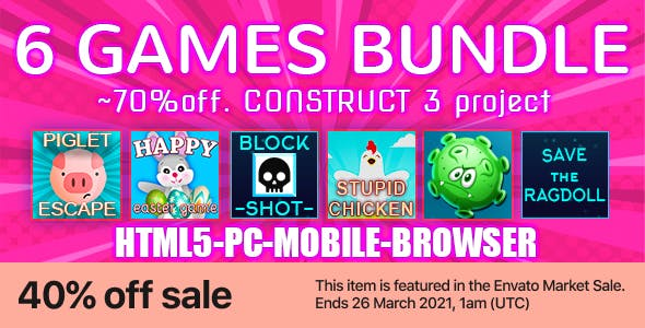 6in1 Super SALE! ~70%off. Construct 3. PC, Mobile, HTML5