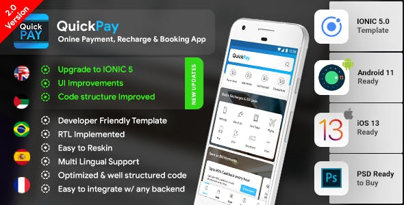 Recharge Ticket Booking & Bill Online Payment Android App + Online Payment iOS App Template| IONIC 5