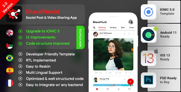 Social Network App Template| Video Story, Chats, Group Chats| Android + iOS |IONIC 5