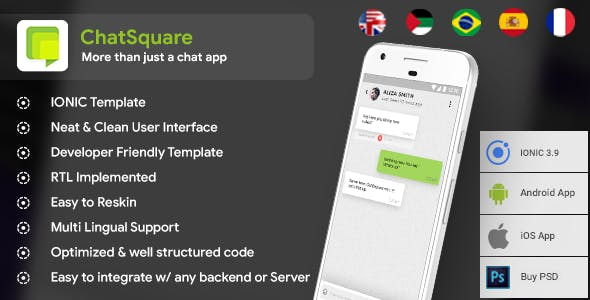 Chat Social media Android App+ Social media iOS App Template  IONIC 3  Chat App Template  ChatSquare