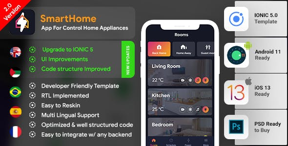 Smart Home Android App + Smart Home iOS App Template | HTML + Css IONIC 5