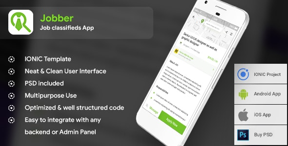 Job classifieds Android App + Job finding iOS App Template | Jobber (HTML+CSS) IONIC 3 - CodeCanyon Item for Sale