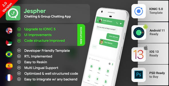 Chatting & Group Chatting Android + Chatting iOS App Template | HMTL +  Css IONIC 5 |  Jespher