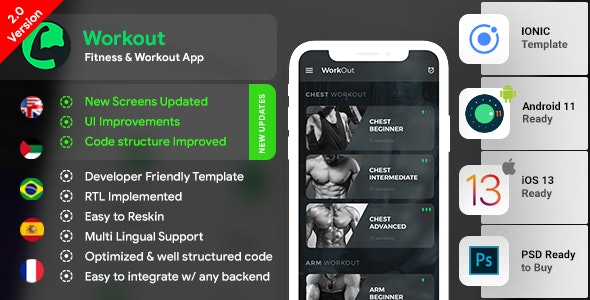 Workout Android App + Workout iOS App | Template (HTML + CSS in IONIC 3) - CodeCanyon Item for Sale