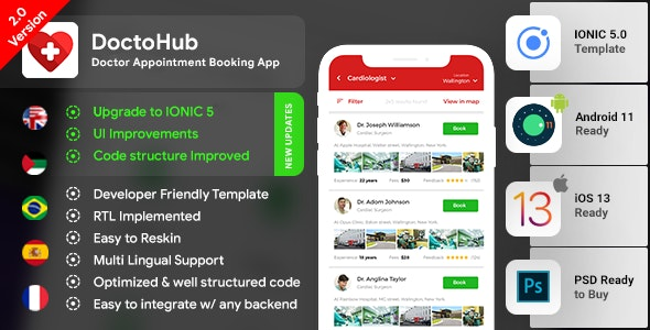 Doctor Appointment Booking Android App + Doctor Appointment iOS App Template ( IONIC 5 )| DoctoHub - CodeCanyon Item for Sale