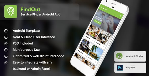 Place Finder, Restaurant & Service Finder, NearBy Android App Template (XML Code in Android Studio)