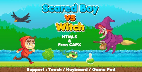 Scared Boy vs Witch (HTML5 | CAPX | Cordova) Running Game