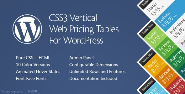 CSS3 Vertical Web Pricing Tables For WordPress