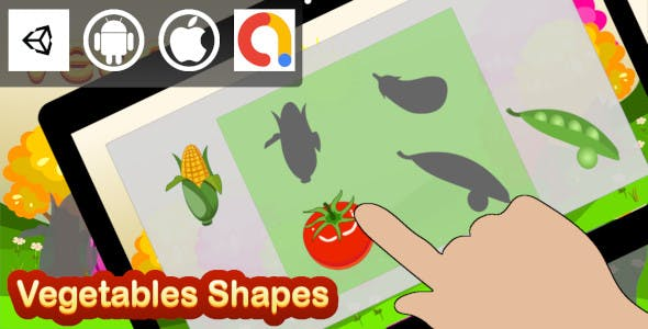Edukida - Vegetables Shapes Unity Kids Educational Game With Admob For Android and iOS
