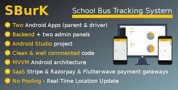 SBurK v2.4 – School Bus Tracker – Two Android Apps + Backend + Admin panels – SaaS