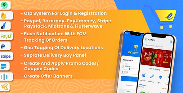 eCart - Grocery, Food Delivery, Fruits & Vegetable store, Full Android Ecommerce App - CodeCanyon Item for Sale
