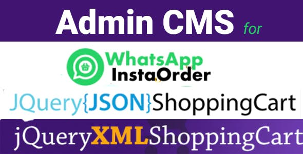 Admin CMS for WhatsApp Insta Order - jQuery JSON Store Shop - jQuery XML Store Shop