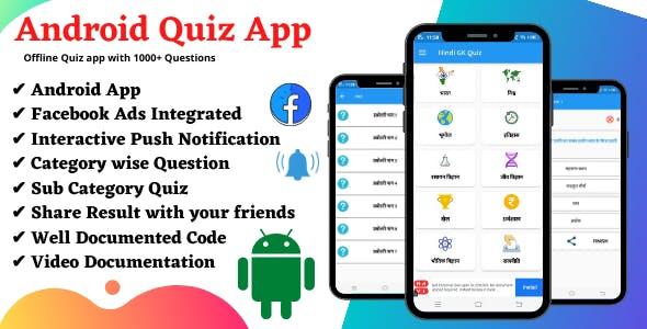 Offline Quiz App with Facebook ads & 1000+Questions.