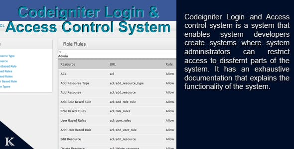Codeigniter Login and Access Management System