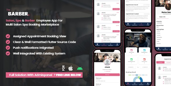 Employe App Multi Salon, Spa, Barber Appointment Booking System - CodeCanyon Item for Sale