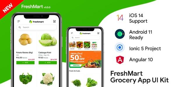 FreshMart Ecommerce Android App + Ecommerce iOS App Template | Ecommerce App | IONIC 5 | Angular 10