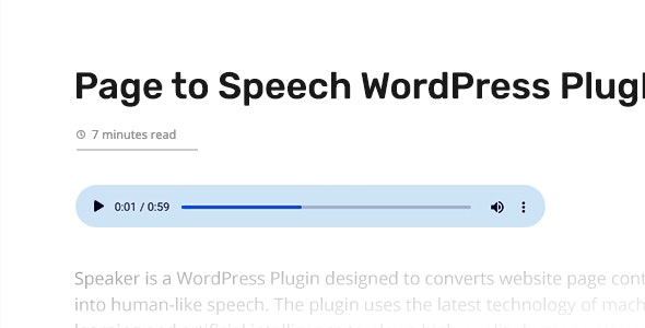 Speaker – Page to Speech Plugin for WordPress - CodeCanyon Item for Sale