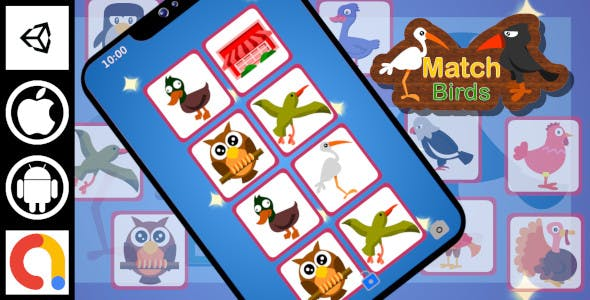 Edukida - Match Birds Unity Kids Educational Game With Admob For Android And iOS