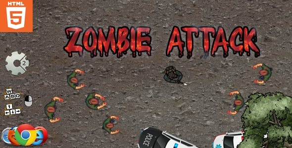Zombie attack - HTML5 - Survival game