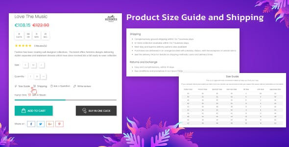 Product Size Chart & Free Shipping Popup