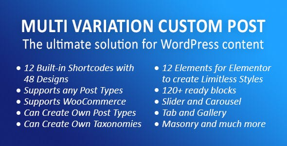 MVCP: Multi Variation Custom Post WordPress Plugin