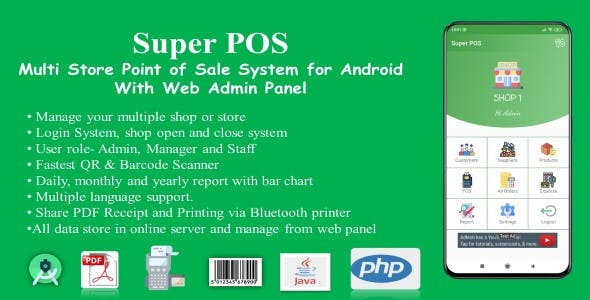 Super POS-Multi Store Point of Sale System for Android with Web Admin Panel