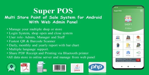 Super POS-Multi Store Point of Sale System for Android with Web Admin Panel - CodeCanyon Item for Sale