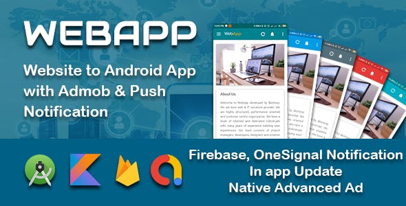 WEBAPP - Multi-Purpose Webview App with Admob and Push Notification