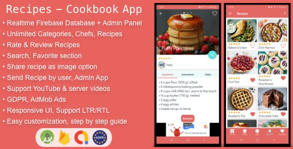 Recipes - Cookbook App for Android with Admin Panel