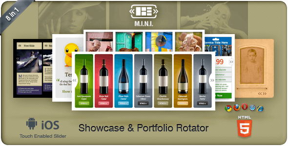 M.I.N.I Touchable Showcase & Portfolio Slider 8in1 - CodeCanyon Item for Sale