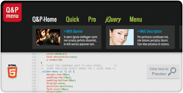 Quick & Pro Menu Navigation jQuery Plugin