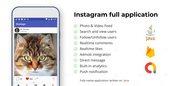 Instagram Android Full Applcation + Firebase Web (Photo&Video)