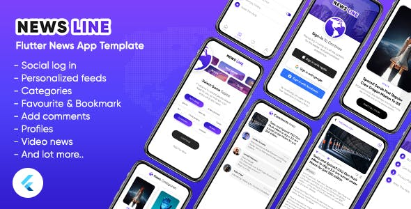 News Line: Flutter News App Android + iOS Template