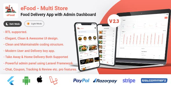 eFood - Food Delivery App with Laravel Admin Panel + Delivery Man App V2.3
