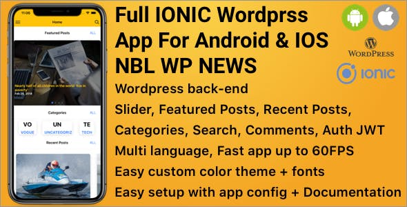 Full IONIC Wordprss App For Android & IOS   NBL WP NEWS