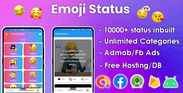 Emoji Status - 10000+ status Inbuilt, Ready to Publish - CodeCanyon Item for Sale
