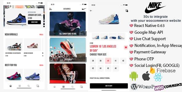 React Native Woocommerce - Nike Mobile App Template