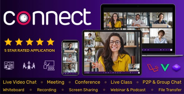 Connect - Live Video & Chat Messaging, Live Class, Meeting, Webinar, File Sharing, Whiteboard