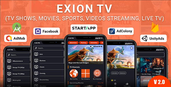 Exion TV v2.0 – Watch Live TV with Movies (Live Streaming, IPTV, Shows, Series)
